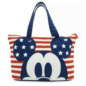 NWT American Flag Mickey Mouse foldable tote